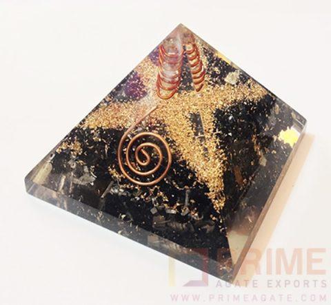 BlackTourmaline OrgoneEnergyPyramid-WithCrystalPoint