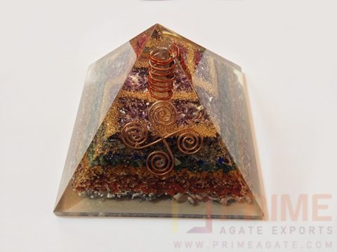 GemstoneChakraLayerOrgoneVastuPyramid-WithCrystalPoint