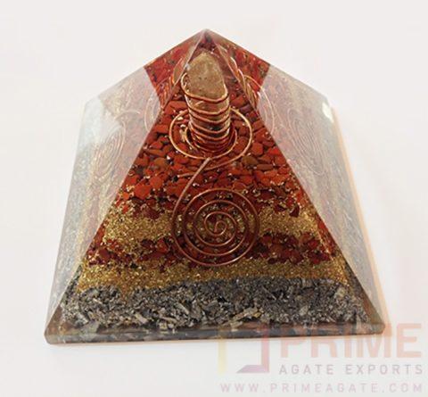 RedJasperOrgoneCopperAluminiumLayerPyramid-withCrystalPoint