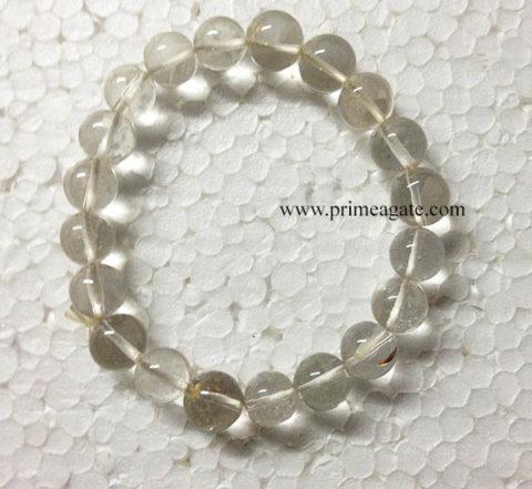 CrystalQuartzElasticBeads-Bracelet