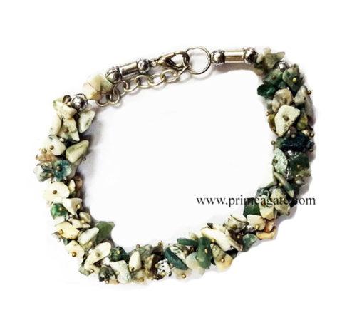 MossAgateChipsFuseWire-Bracelet