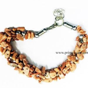 PeachAventurineChipsFuseWire-Bracelet