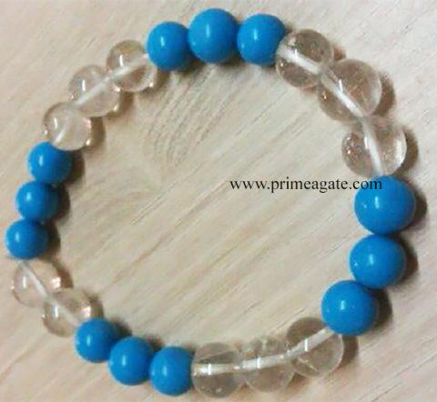 TurqoiseCrystalQuartz3-3ElasticBeads-Bracelet