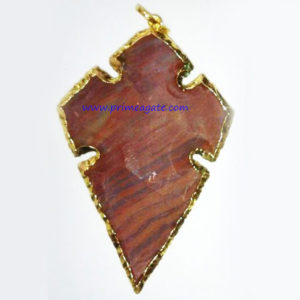 FancyJasperArrowheadElectroPlated-Pendant(Design4)