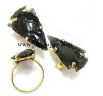 BlackObsidianArrowheadsElectroplated-Rings