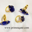 BlueColorGlassArrowheadElectroplated-Ring