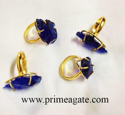 BlueColorGlassArrowheadElectroplated-Ring