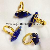 BlueColorGlassArrowheadElectroplated-Rings