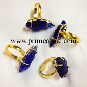 BlueColorGlassArrowheadElectroplated-Rings