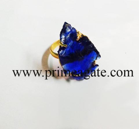 BlueColourGlassAdjustableArrowhead-Rings