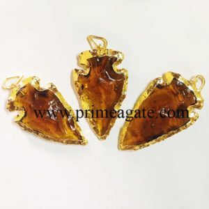 BrownColourGlassArrowhead-pendants