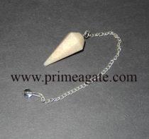 CreamMoonstoneFaceted-Pendulum