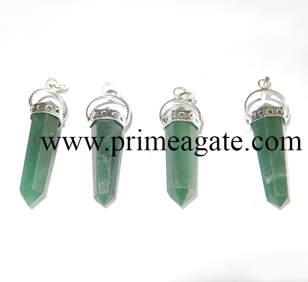 GreenAventurineDoublePoint-Pendants