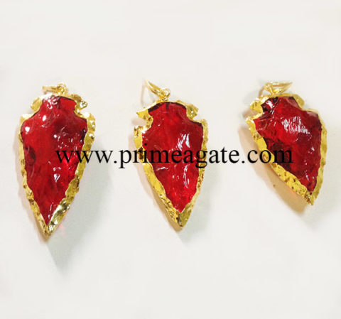 RedCornelianElectroplated-ArrowheadPendants