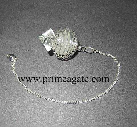TumbleCageWithCrysatlQuartzPyramid-Pendulum