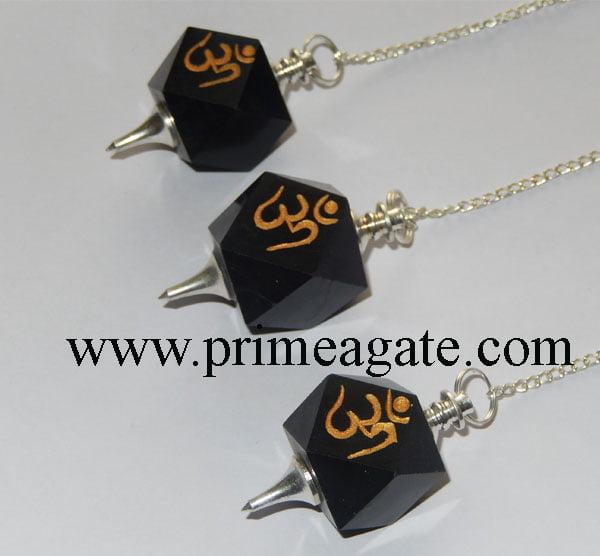 Black-Agate-OM-Engraved-Pendulums