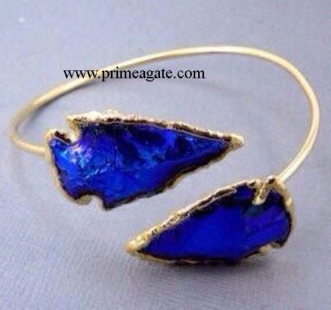 Blue-Color-Glass-Electroplated-Arrowhead-Bangel