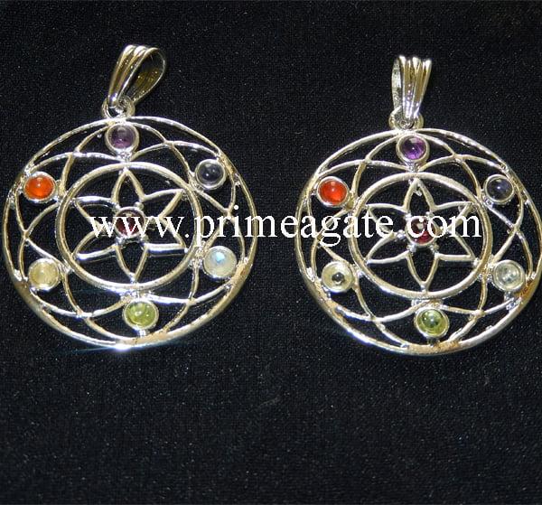 Chakra-Flowe-Of-Life-Metal-Pendants