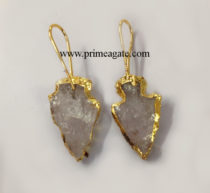 Crystal-Quartz-Electroplated-Arrowhead-Earings