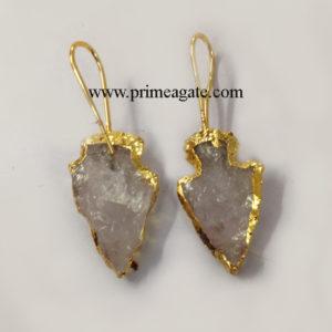 Crystal-Quartz-Electroplated-Arrowhead-Earings