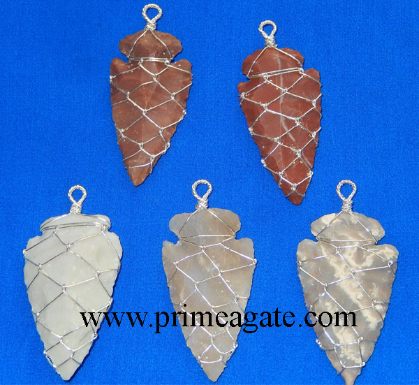 Fancy-Jasper-Arrowhead-Silver-Pendants