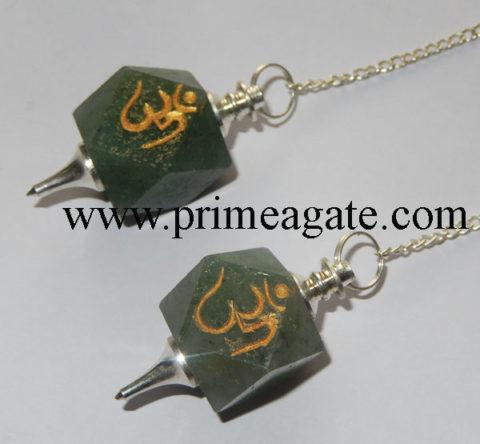 Green-Aventurine-OM-Engraved-Pendulums
