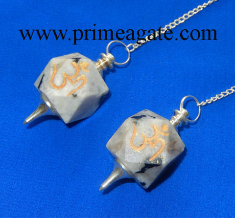 Rainbow-Moonstone-OM-Engraved-Pendulums