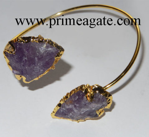 Amethyst-Electroplated-Arrowhead-Bangle