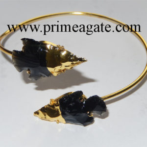 Black-Obsidian-2Tone-Arrowhead-Bangle