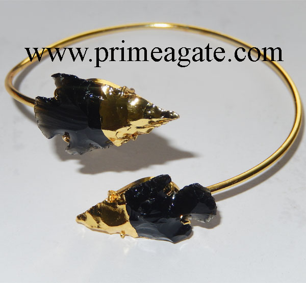 Black-Obsidian-2Tone-Arrowhead-Bangle