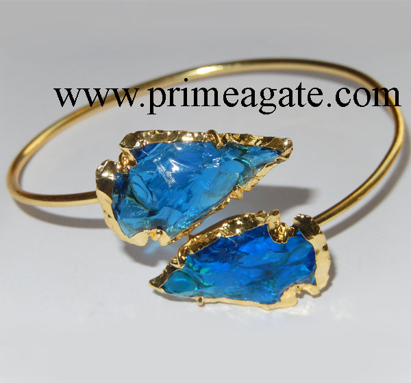 Blue-Color-Glass-Electroplated-Arrowhead-Bangle