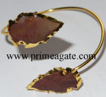 Fancy-Jasper-Electroplated-Arrowhead-Bangle