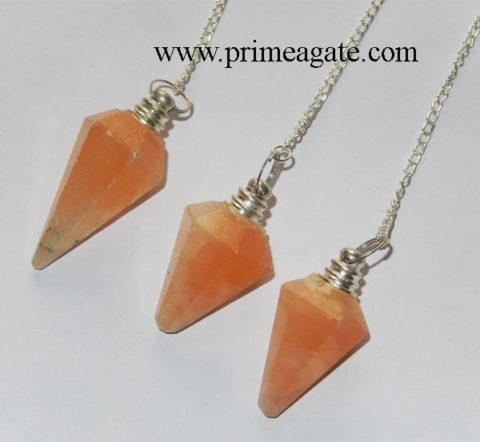 Mango-Selenite-Facetted-Pendulums