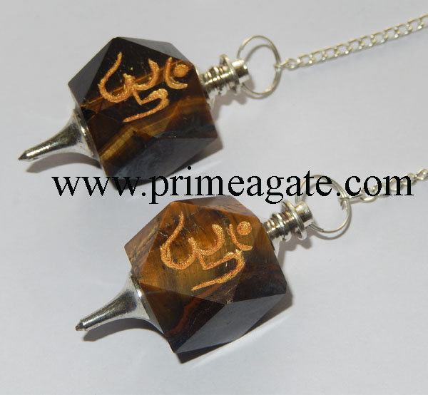 Tiger-Eye-OM-Engraved-Pendulums