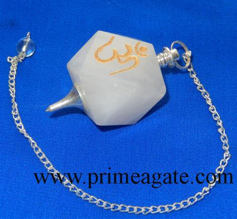 White-Agate-OM-Engraved-Pendulum