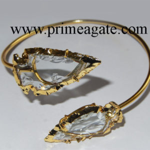 White-Color-Glass-Electroplated-Arrowhead-Bangle