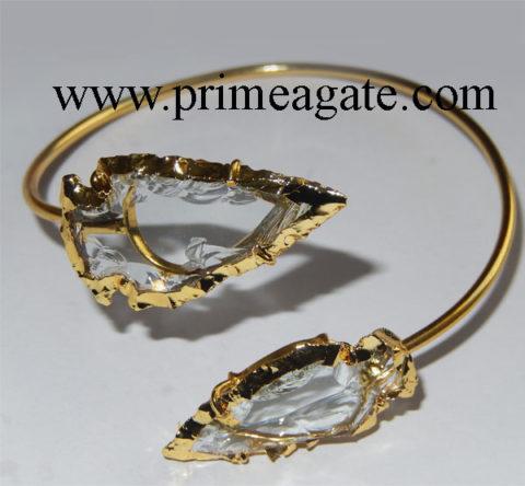 White-Color-Glass-Electroplated-Arrowhead-Bangle