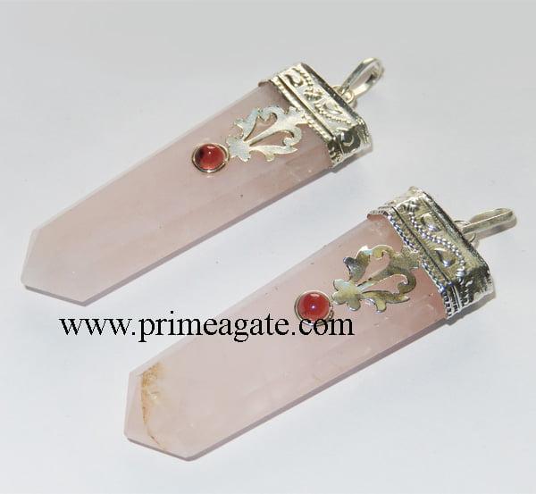 Rose-Quartz-Flat-Special-Pendant-With-Garnet