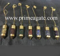 Chakra Glass Chamber Pendulum Set