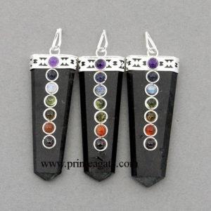 Orgone-Black-Tourmaline-Chakra-Flat-Pendants