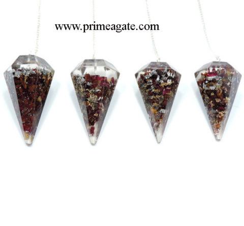 Orgone-garnet-facetted-Pendulum