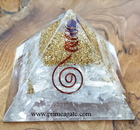 Selenite-Orgone-Pyramid-With-Amethyst-Charge-Point