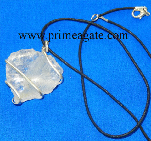 Crystal-Quartz-Hand-Knapped-Heart-Shape-Wrapped-Pendant