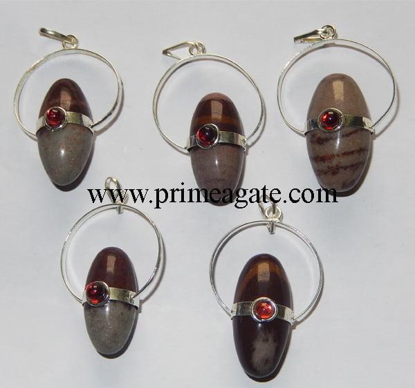 Narmada-Shiv-Lingums-Pendants-With-Garnet
