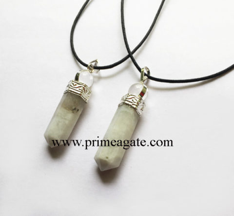 Rainbow-Moonstone-2Pc-Pencil-Pendant-With-Black-Cord