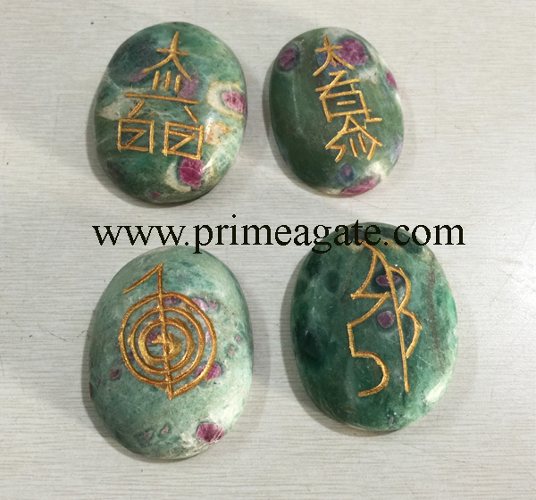 Ruby-Fuchsite-Oval-Shape-Reiki-Set