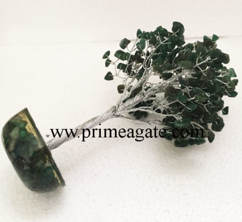 Green-Jade-300Bds-Gemstone-SilverWire-Tree-With-Orgone-Base