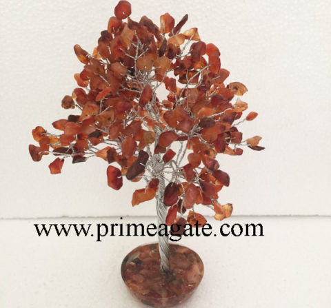 Red-Carnelian-300Bds-Gemstone-SilverWire-Tree-With-Orgone-Base