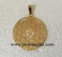 Golden-Metal-Flower-Of-Life-OM-Pendant