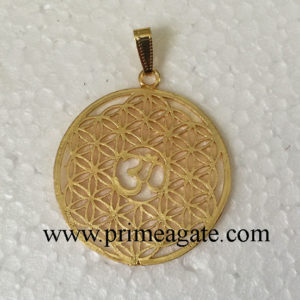 Golden-Metal-Flower-Of-Life-OM-Pendant